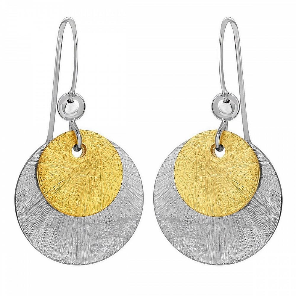 Two Tone Disk Earrings Gold Silver