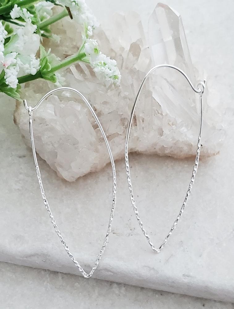 Silver Marquise Hammered Hoop Earrings