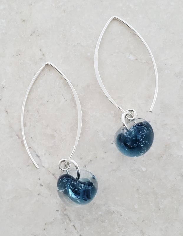 Silver Marquis Earrings in London Blue