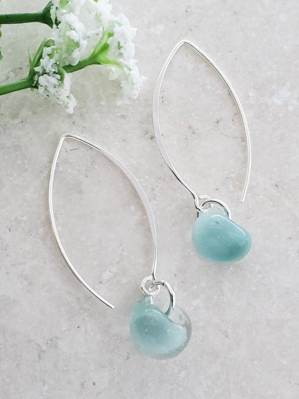 Silver Marquis Earrings in Sky Blue