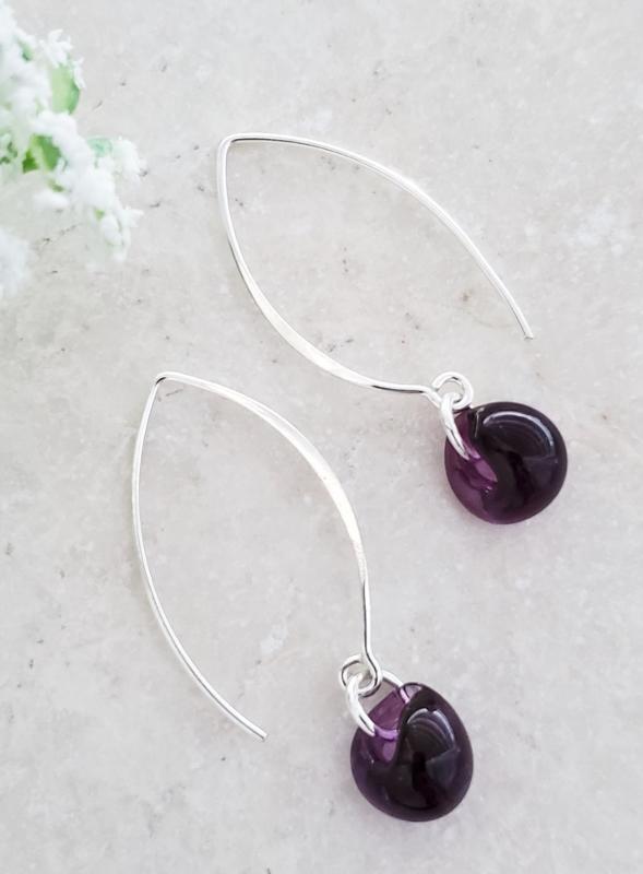 Silver Marquis Earrings in Mystic Purple