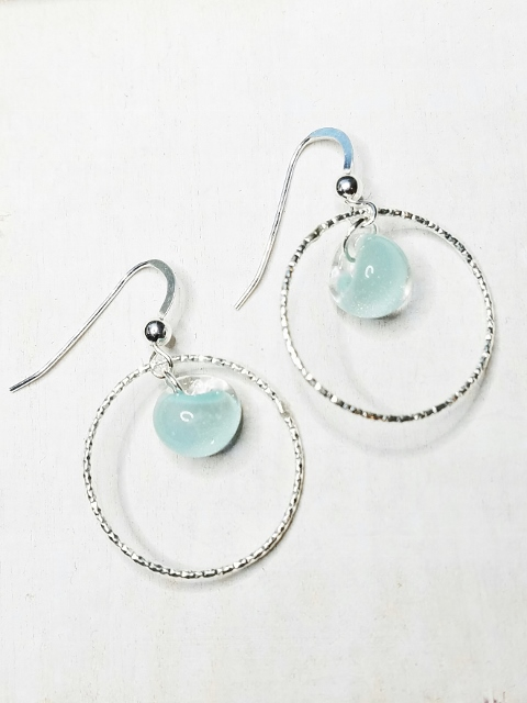 Diamond Cut Hoops Earrings w/ Sky Blue
