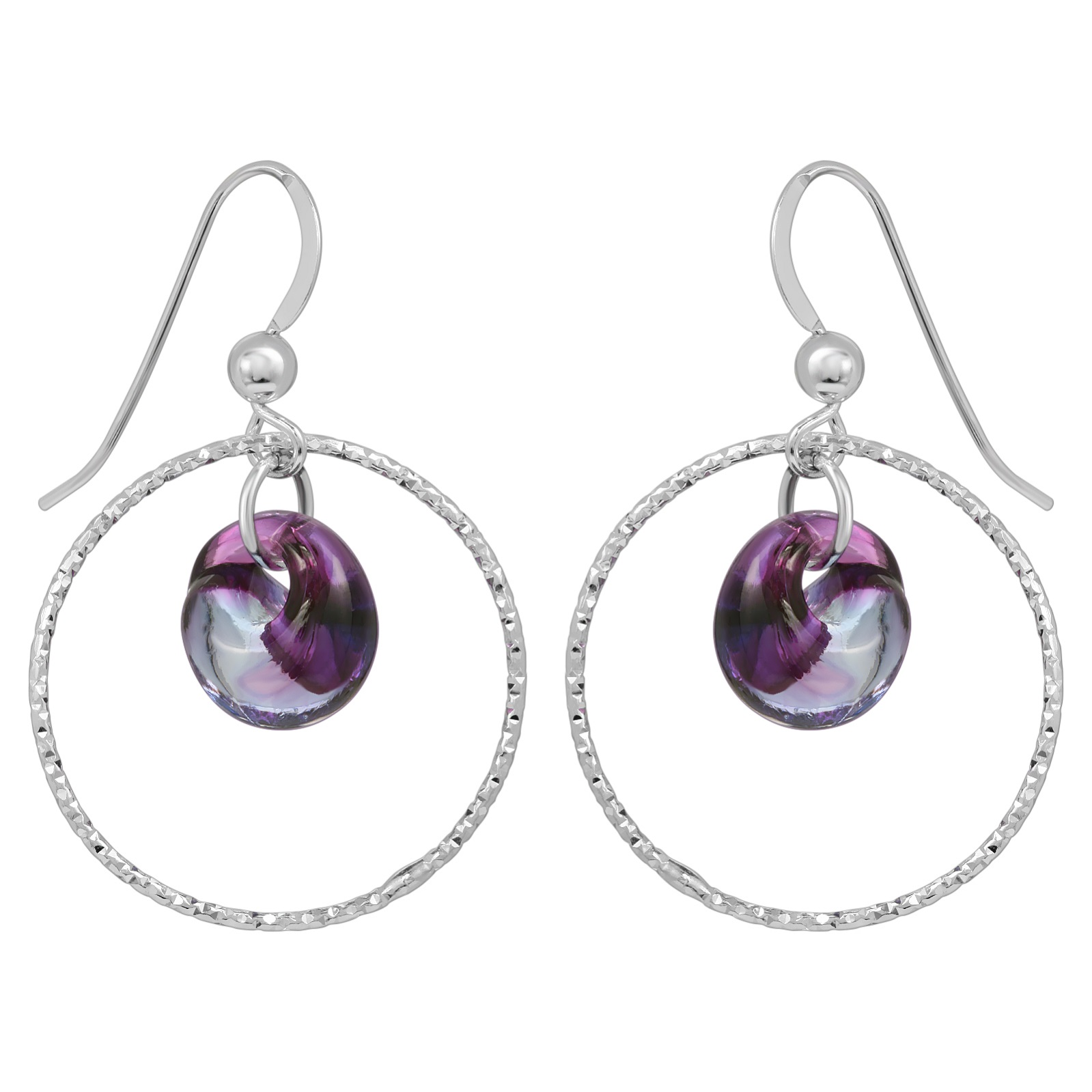 Diamond Cut Hoops Earrings - Mystic Purple