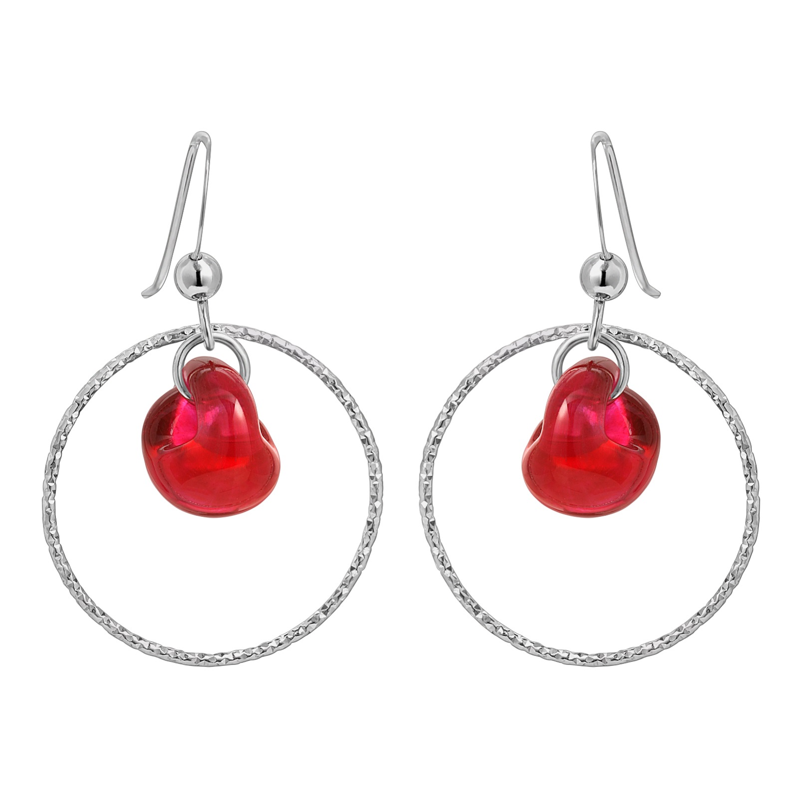 Diamond Cut Hoops Earrings - Fireball Red