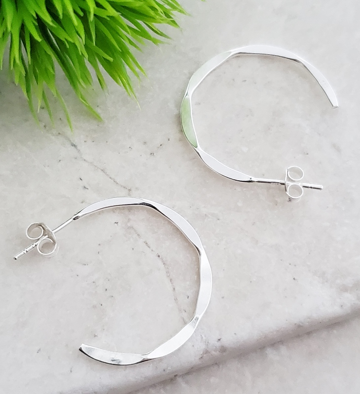 Silver Hammered Hoops Earrings