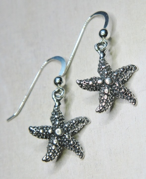 Silver Starfish Earrings - Oxidized