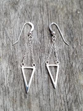 Silver Dangle Triangle Earrings