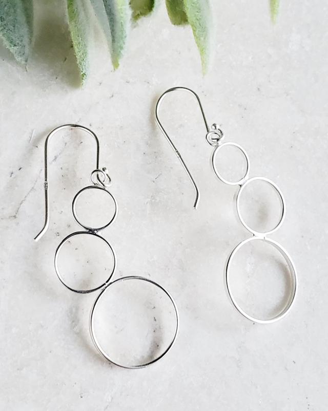 Silver Bubble Cluster Earrings