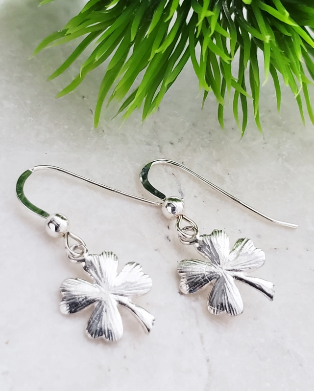 Silver Textured Clover Earrings