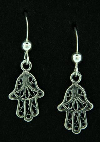Hamsa Hand Silver Earrings