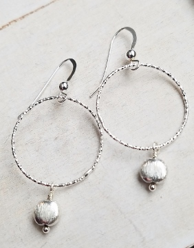 Silver Diamond Cut Hoop w/ Brushed Silver Earrings