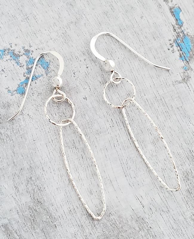 Silver Diamond Cut Combo Earrings