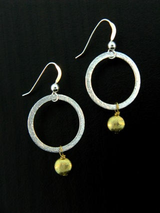Two-Tone Round Disk Earrings - Gold/Silver