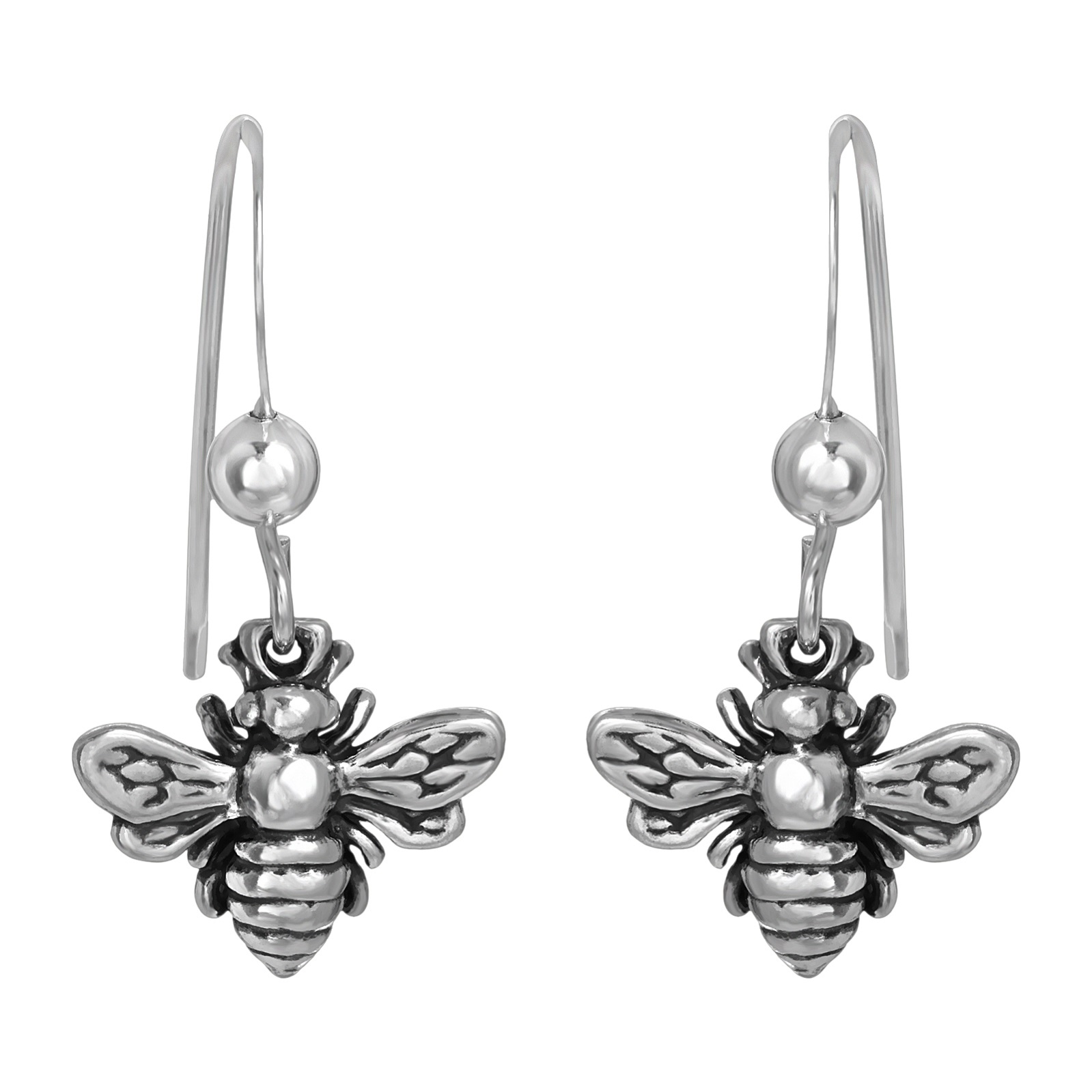 Sterling Silver Bumble Bee Earrings - Oxidized