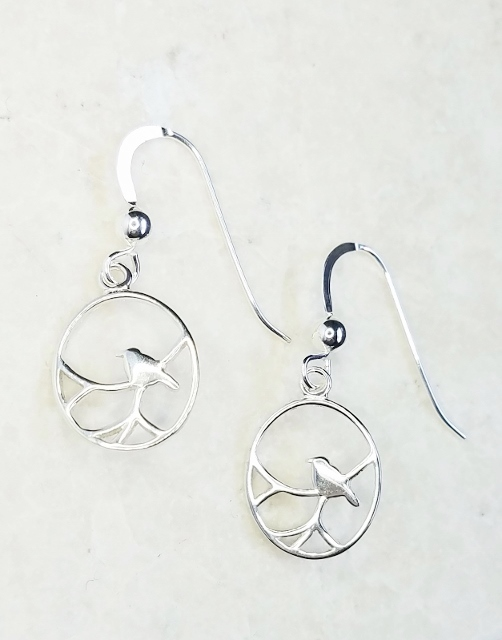 Silver Nightingale Bird Earrings