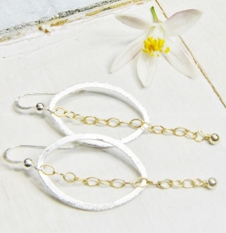 Two Tone Oval w/ Chain Earrings