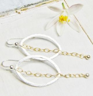 Two Tone Oval w/ Chain Earrings