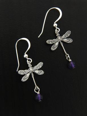 Dragonfly Earrings w/ Amethyst