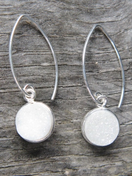 Silver Bezel Druzy Marquis Earrings - Rainbow White