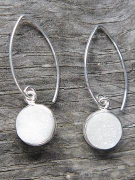 Silver Bezel Druzy Marquis Earrings - Rainbow White
