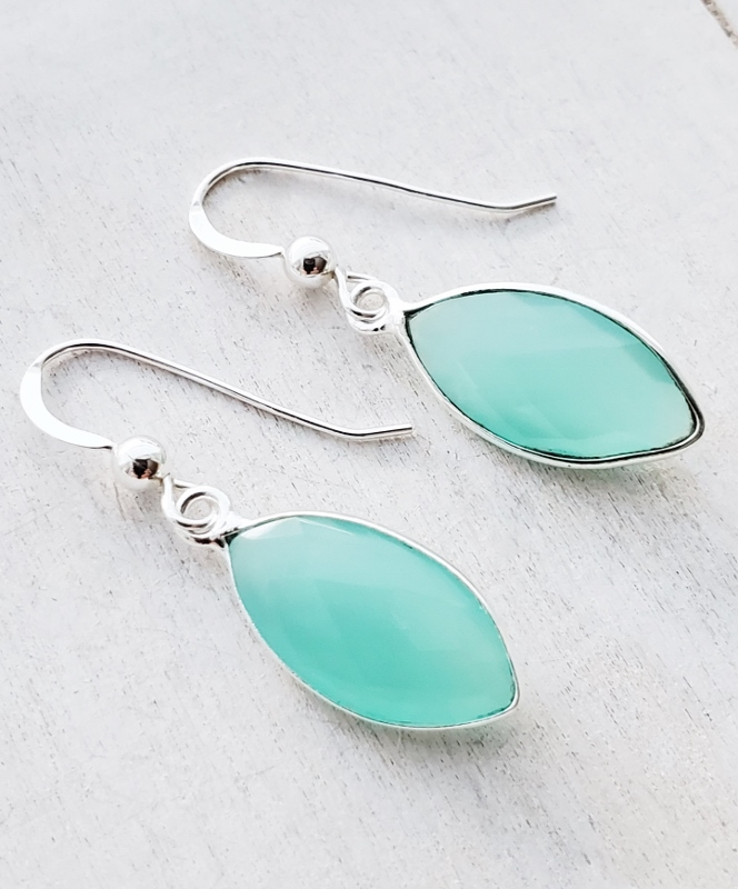 Silver Chalcedony Marquis Earrings