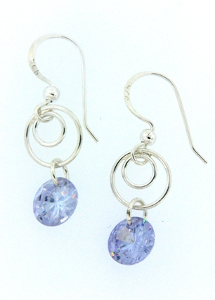 Swirly Earrings - Rd  CZ Tanzanite