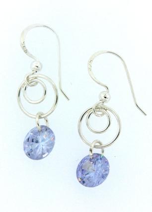 Swirly Earrings - Rd  CZ Tanzanite