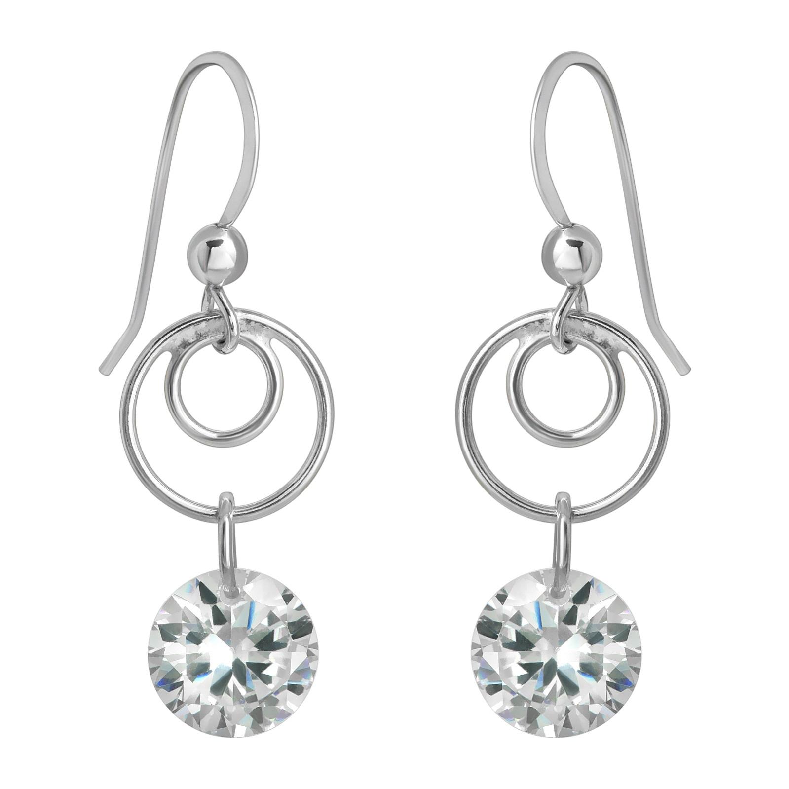 Swirly Earrings - Rd CZ Clear