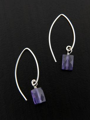 CZ Marquise Earrings in Amethyst
