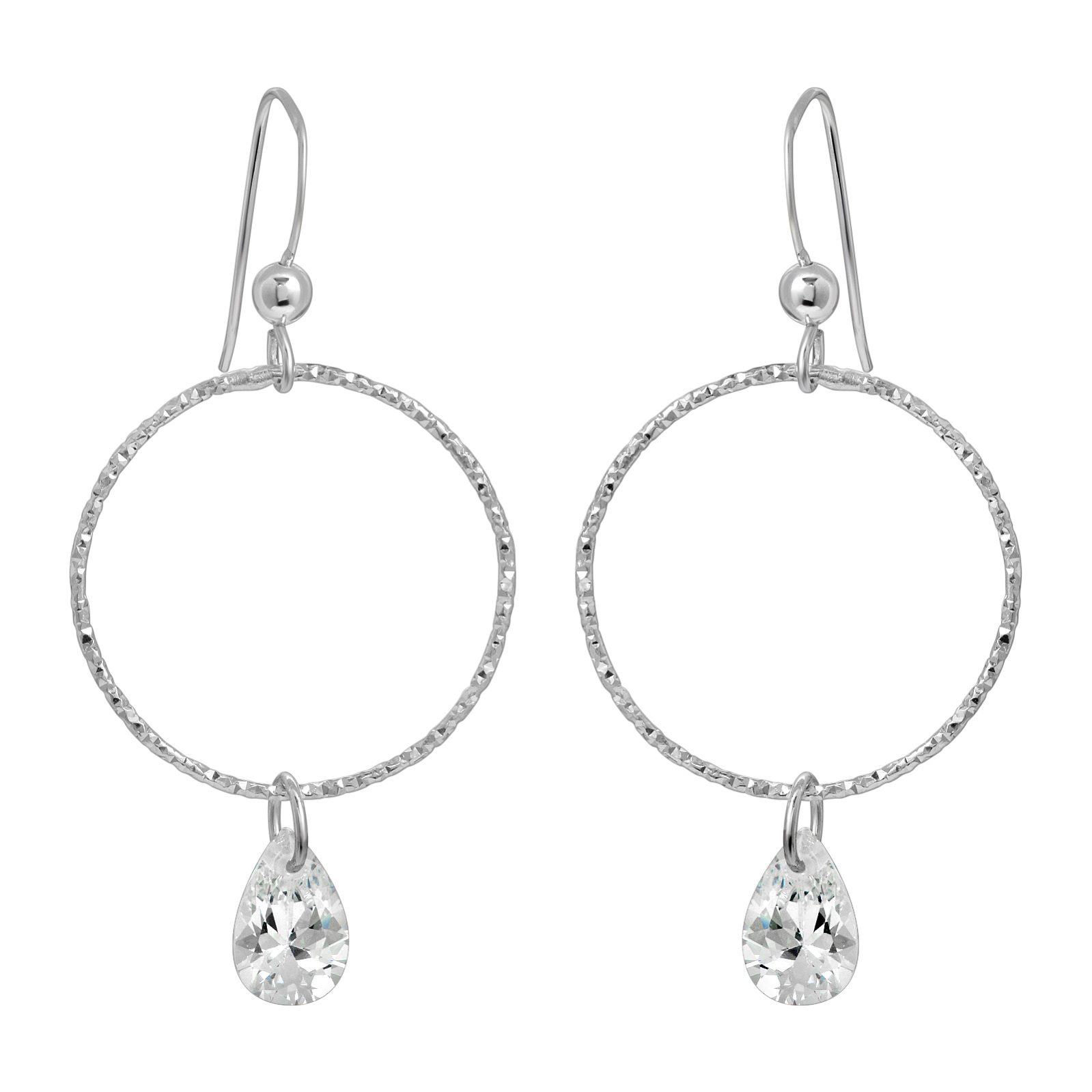 CZ Diamond Cut Hoops Earrings - Clear CZ