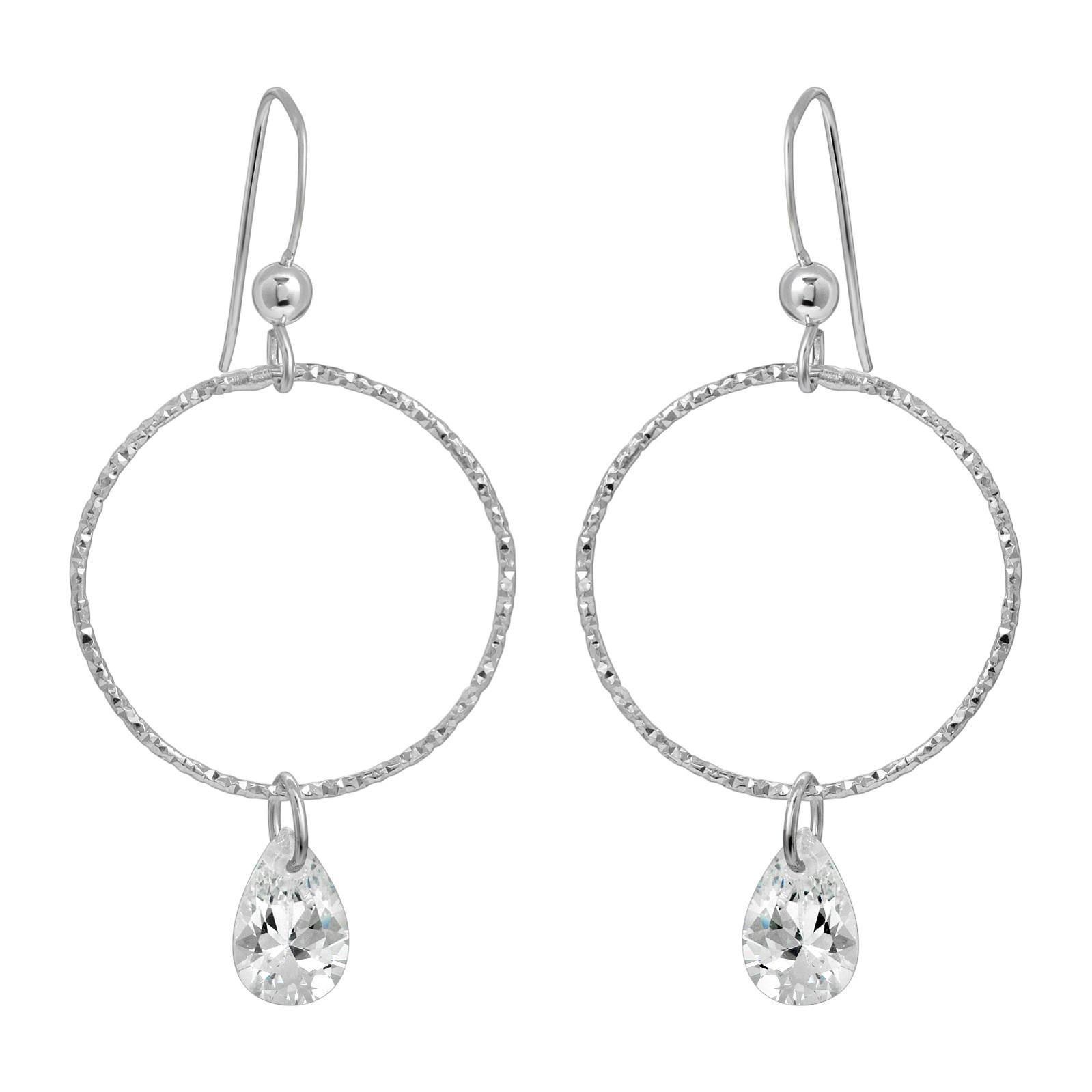 CZ Diamond Cut Hoops Earrings - Clear CZ