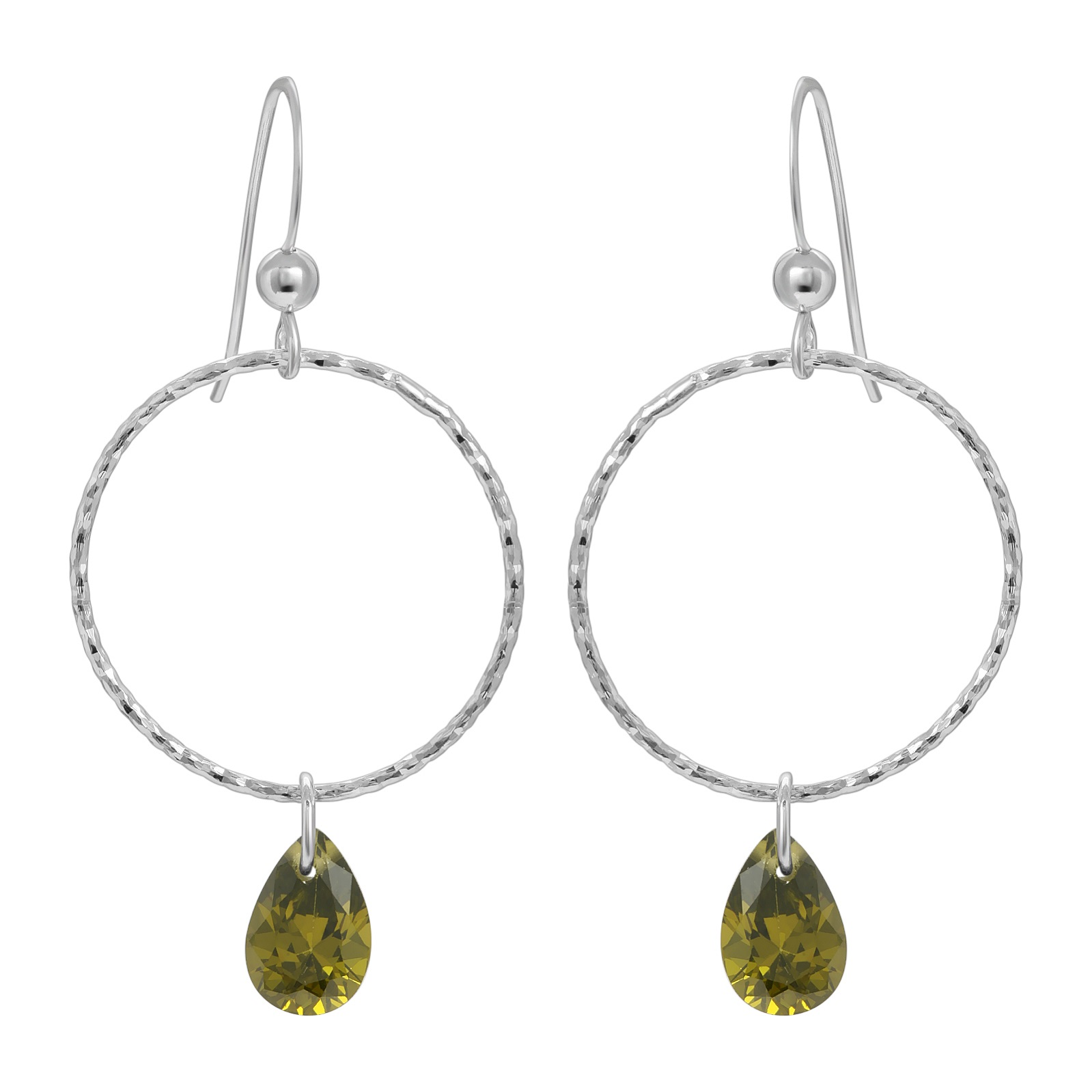 CZ Diamond Cut Hoops Earrings - Olivine