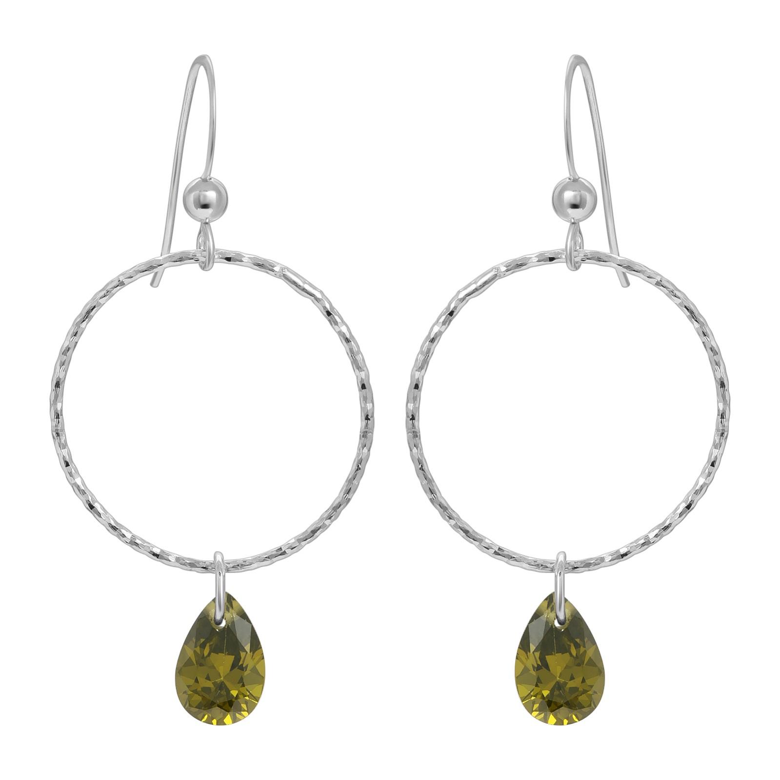 CZ Diamond Cut Hoops Earrings - Olivine