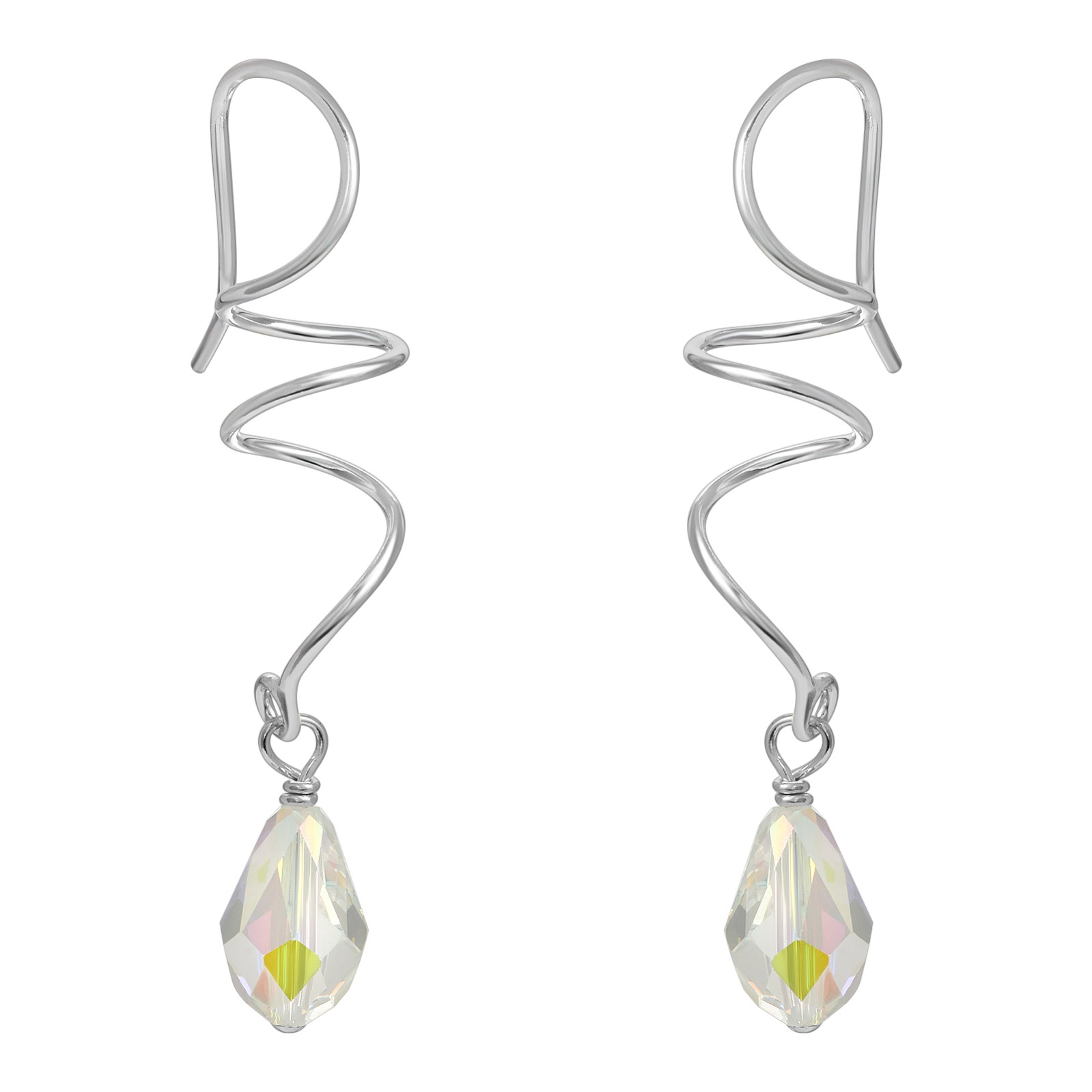Silver Twirl Crystal Earrings - Clear AB