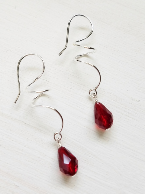 Silver Twirl Crystal Earrings - Siam Red
