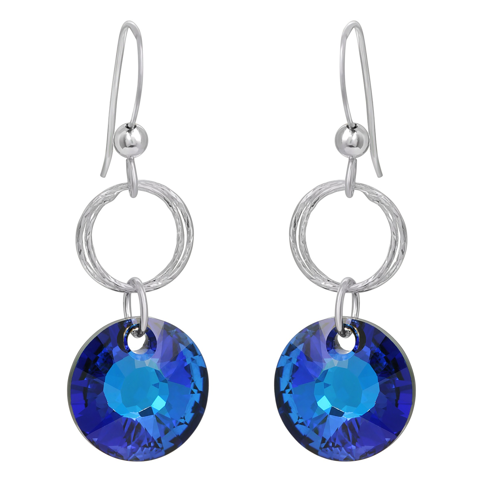 Double Diamond Cut Crystal Earrings - Bermuda Blue