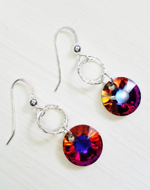 Double Diamond Cut Crystal Earrings - Volcano