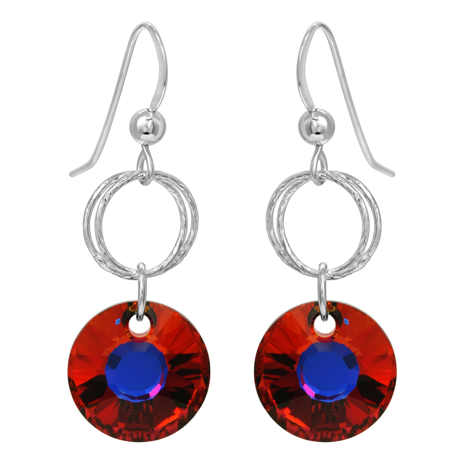 Double Diamond Cut Crystal Earrings - Volcano