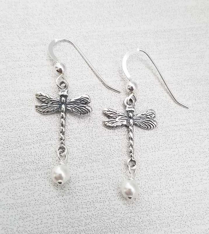 Dragonfly Earrings w/ Crystal White Pearl