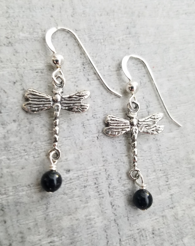 Dragonfly Earrings w/ Crystal Pearl Mystic Black
