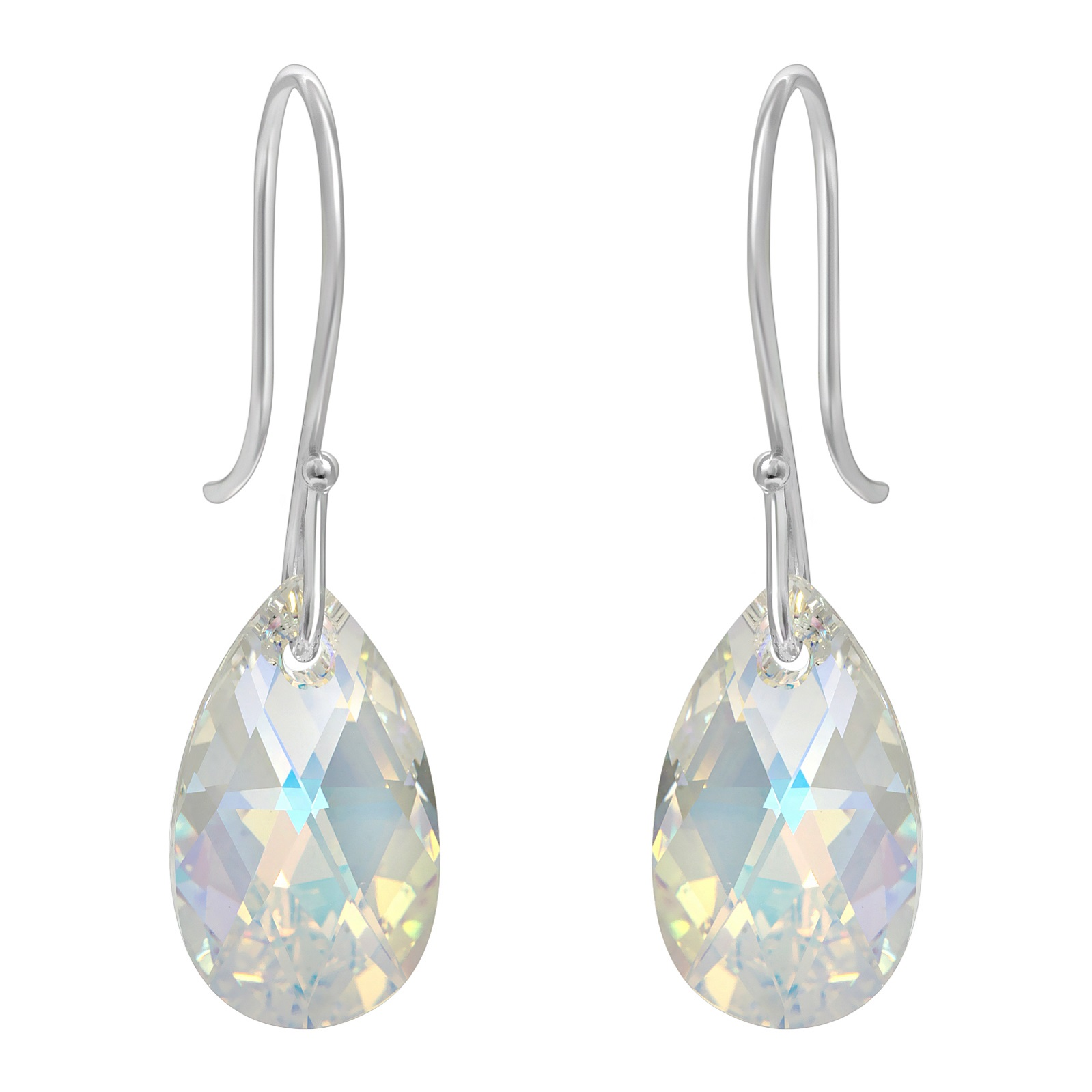 Crystal Briolette Earrings - Swarovski Crystal Elements Clear AB