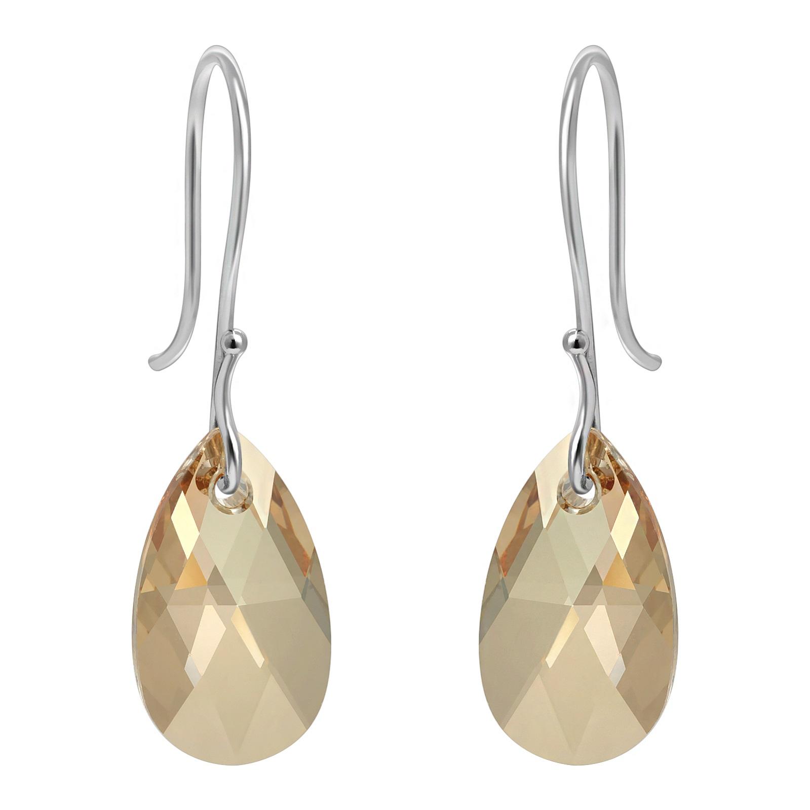 Crystal Briolette Earrings - Swarovski Crystal Elements Golden Shadow