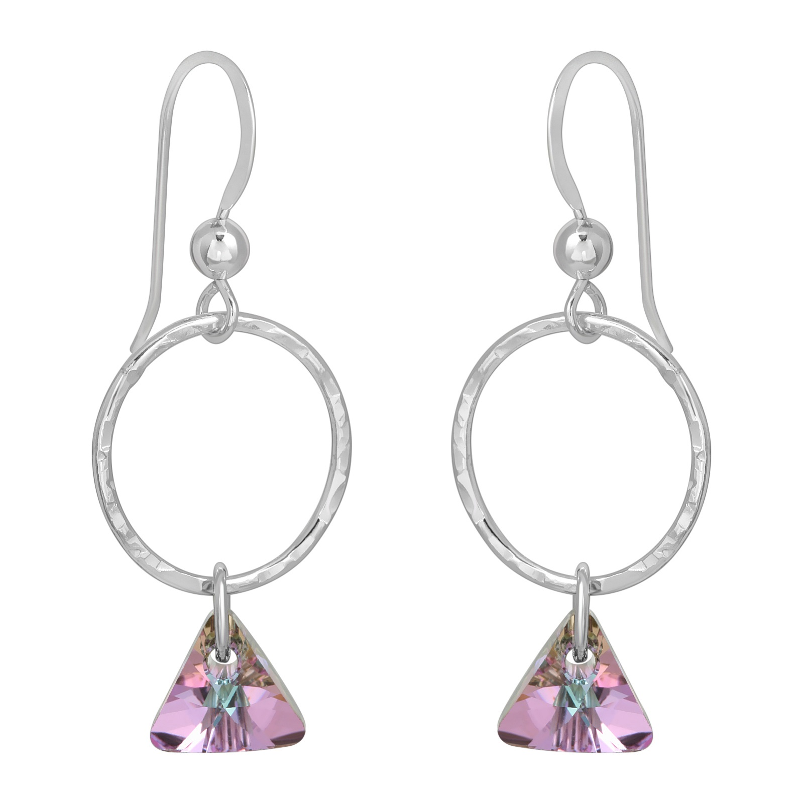 Hammered Hoop with Triangle Crystal Earrings - Vitrail Purple