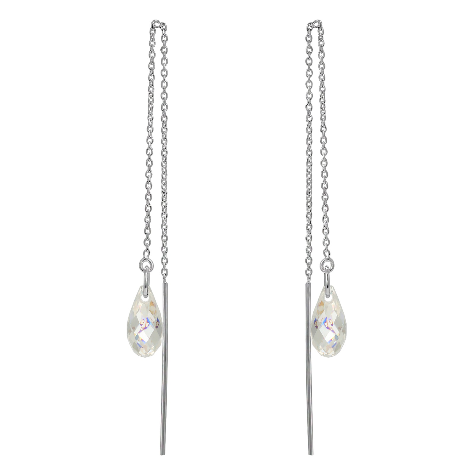 Crystal Briolette Threader Earrings - Swarovski Crystals Elements White Patina