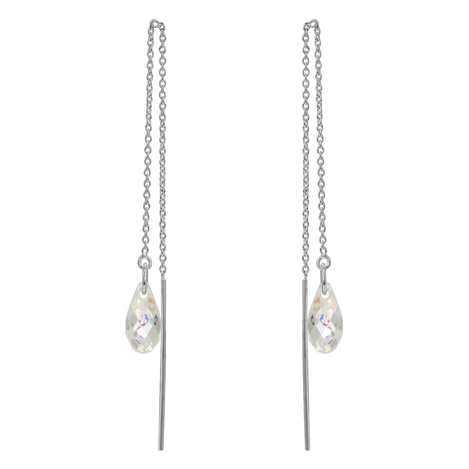 Crystal Briolette Threader Earrings - Swarovski Crystals Elements White Patina