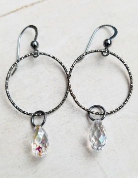Oxidized Silver Diamond Cut Hoop w/ Crystal Earrings - Clear Patina