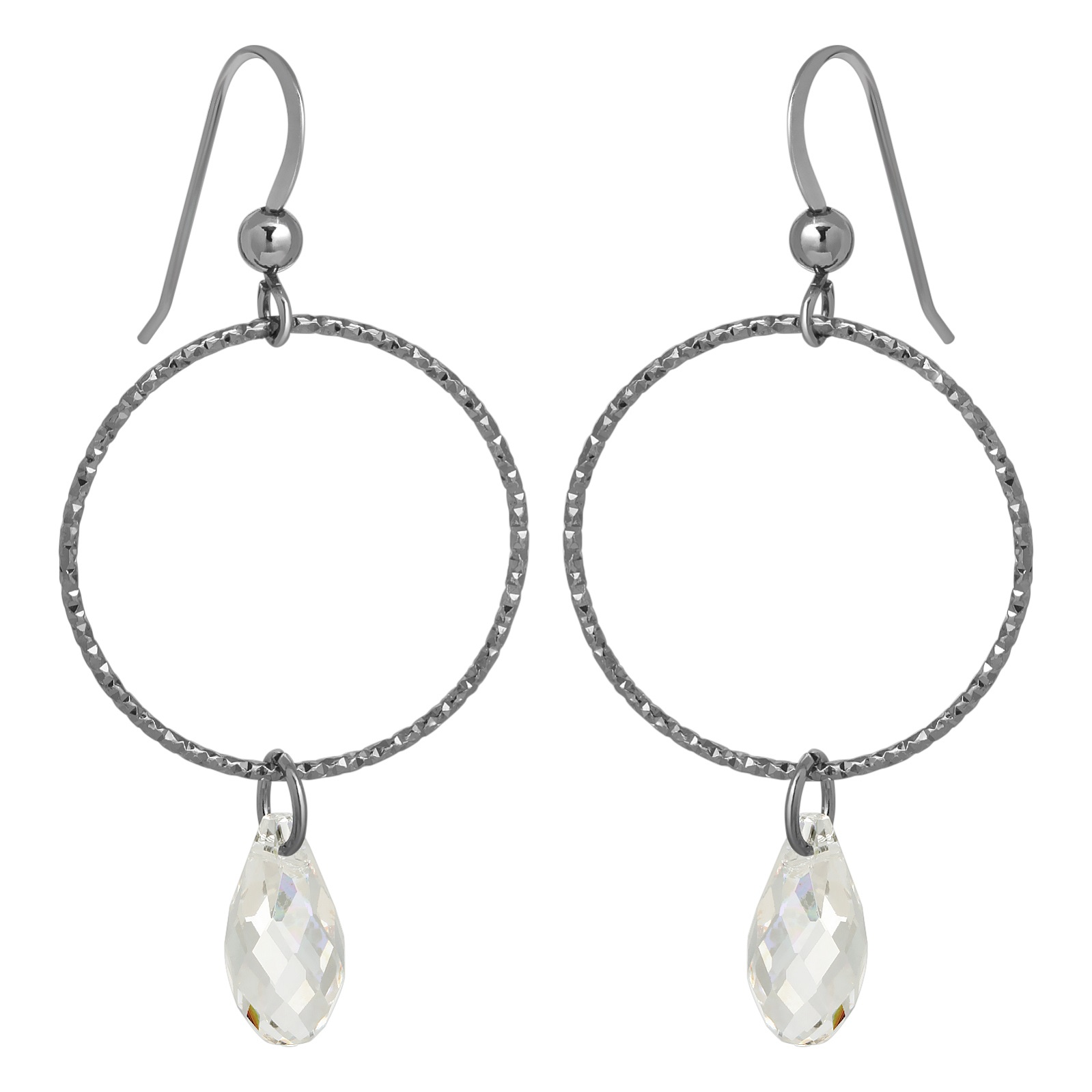 Oxidized Silver Diamond Cut Hoop w/ Swarovski Elements Crystal Earrings - Clear Patina