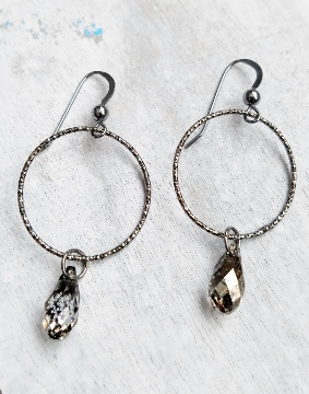 Oxidized Silver Diamond Cut Hoop w/ Crystal Earrings - Black Patina