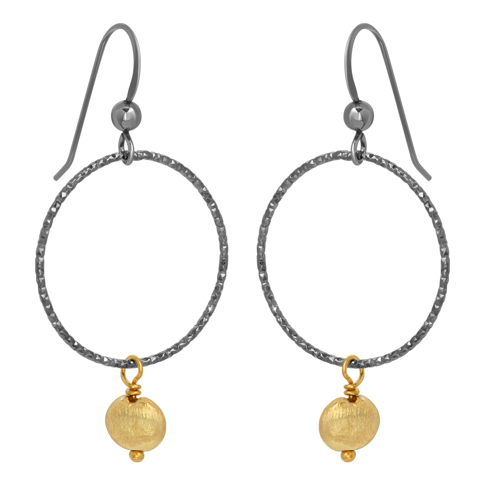 Two-Tone Oxidized Diamond Cut w/ Gold Drop Earrings