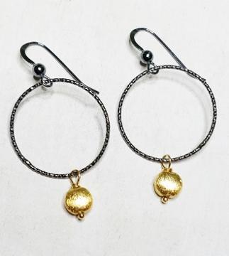 Two-Tone Oxidized Diamond Cut w/ Gold Drop Earrings